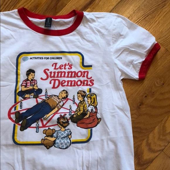 Activities For Children Tops Lets Summon Demons Ringer Style Tee